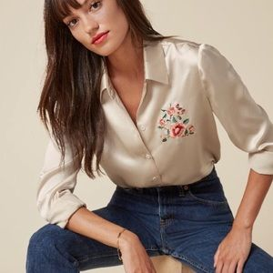 "Reformation ""Peggy"" 100% Silk Blouse"